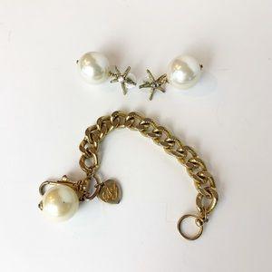 Betsey Johnson Pearl Starfish Bracelet Earring Set